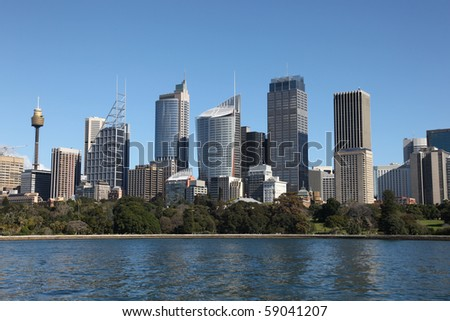 Sydney City Skyline view across farm cove. Sydney is Australia's largest city and a popular tourist destination.