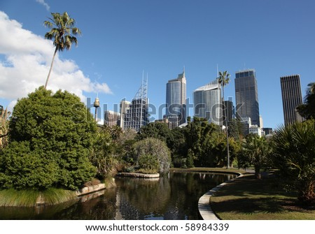 Sydney City Skyline view from the botanic gardens. Sydney is Australia's largest city and a popular tourist destination. - stock photo