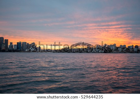 Sydney, cityscape and skyline at sunset