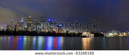 Sydney cityscape twilight dark light conditions panorama over harbour CBD, skyscrapers, towers, Australia landmarks - stock photo
