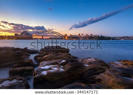 Sydney cityscape view at twilight - stock photo