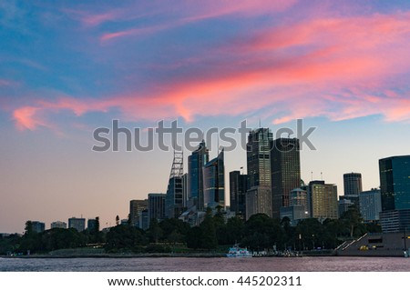 Sydney cityscape with dramatic colorful evening sky on the background. Sydney Business District urban sunset landscape with space for text. Australia - stock photo