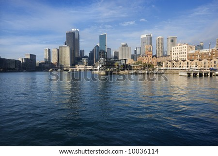 Sydney Cove with view of downtown skyline and water in Sydney, Australia.