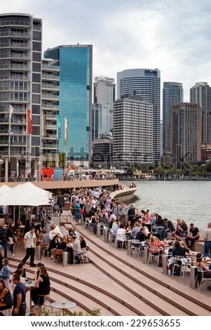 SYDNEY - DECEMBER 26: Sydney city circular quay. The Sydney central business district is the main commercial centre of Sydney, Australia. December 26, 2011 in Sydney, Australia.  - stock photo