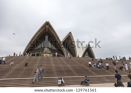 SYDNEY, DECEMBER 27: Sydney Opera House Grand Staircase. The Opera House is Unesco World Heritage Site and one of the world's famous landmarks on December 27, 2009 in Sydney, Australia. - stock photo