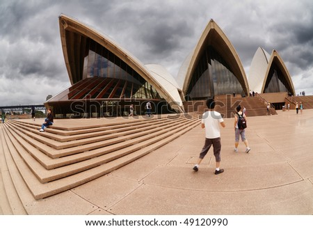 SYDNEY, DECEMBER 10: Sydney Opera House on december 10, 2008 in Sydney, Australia. The Opera House is Unesco World Heritage Site and one of the world's famous landmarks - stock photo
