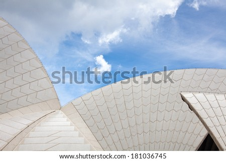 SYDNEY - DECEMBER 15: The Iconic Sydney Opera House is a multi-venue performing arts centre. Section of the ceramic, glazed roof tiles. December 15, 2011 in Sydney, Australia.