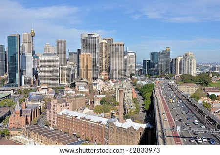 Sydney Downtown and The Rocks in a Clear Winter Day - stock photo