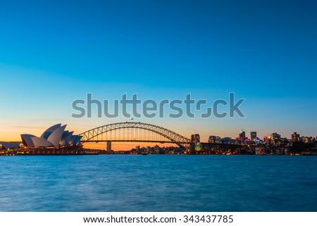 Sydney evening panorama view - stock photo