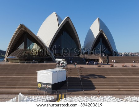 Sydney - February 27, 2016: Beautiful views of the Sydney Opera House on the stairs in front of the theater, 27 February 2016 Sydney, Australia