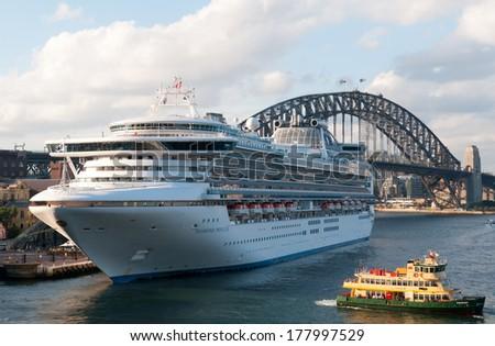 SYDNEY - February 21: Diamond Princess Ocean Liner prepares to depart Sydney Harbour  in February, 2014. - stock photo