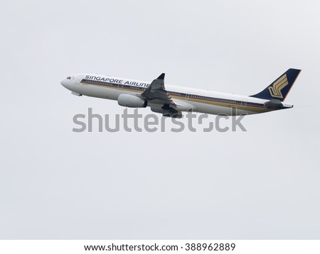Sydney - February 26, 2016: Large passenger plane Airbus A330-343 Singapore Airlines, taking off at the airport in Sydney February 26, 2016, Sydney, Australia - stock photo