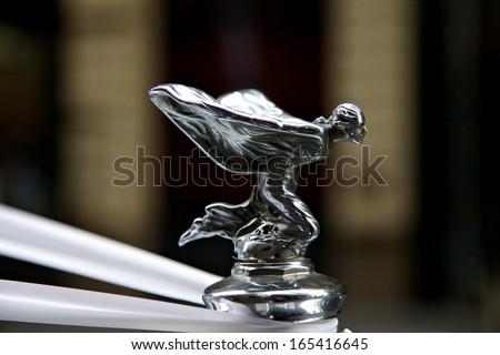 SYDNEY - FEBRUARY 19: Rolls Royce with famous winged emblem mascot on February 19, 2011 in Sydney, Australia - stock photo