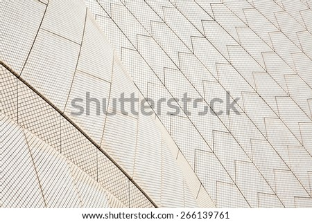 SYDNEY - FEBRUARY 8, 2013: Roof of The Sydney Opera House in Sydney, Australia on February 8, 2013. Designed by Danish architect Jorn Utzon; this year is celebrating the 40th opening anniversary.