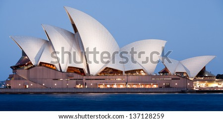 SYDNEY - FEBRUARY 7: The Sydney Opera House view from The Circular Quay in Sydney, Australia on February 7, 2013. Designed by Danish architect Jorn Utzon; this year is celebrating the 40th anniversary - stock photo