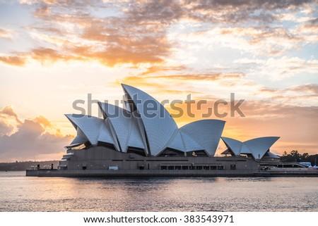 SYDNEY - FEBRUARY 28: View of the Sydney Opera House during sunrise on February 28, 2016 in Sydney, Australia. - stock photo