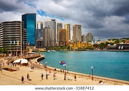 Sydney Harbor and city skyline, Australia - stock photo