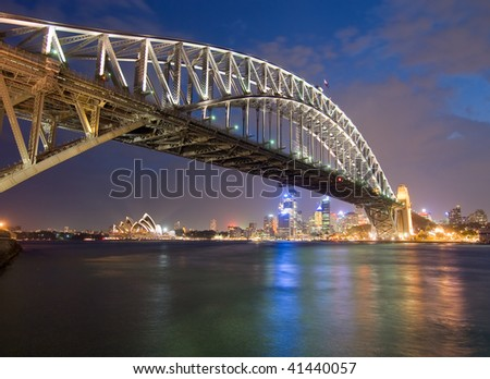 Sydney Harbor Bridge at Dusk - stock photo