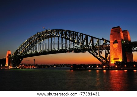 Sydney Harbor bridge in twilight - stock photo
