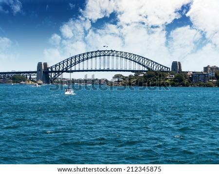 Sydney Harbor bridge landscape near Circular Quay in Sydney, Australia - stock photo