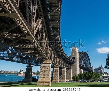 Sydney Harbor Bridge shot from below during the day with opera house in distance - stock photo