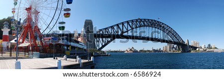 Sydney Harbor ( Harbour ) Panorama on a beautiful clear day - featuring the city, harbor bridge, opera house, and luna park ferris wheel - stock photo