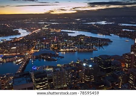 Sydney Harbor in twilight - stock photo