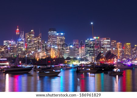 Sydney Harbor on new year eve - stock photo