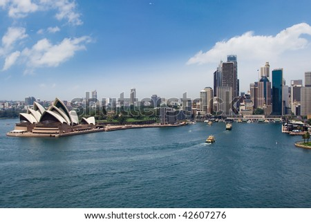 Sydney harbour and downtown panoramic view from bridge - stock photo