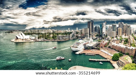 Sydney Harbour area. View from above. - stock photo
