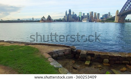 Sydney Harbour at dusk, Australia. - stock photo