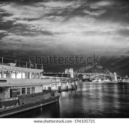 Sydney Harbour at night, Australia. - stock photo