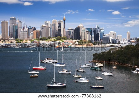 sydney harbour bay boat marina CBD cityscape skyscraper summer sunny day view - stock photo