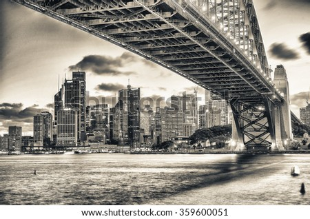 Sydney Harbour Bridge and city night skyline, Australia. - stock photo