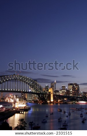 Sydney Harbour Bridge And City Skyline At Sunset, Australia - stock photo