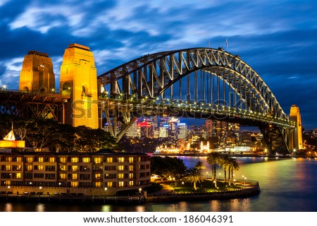 Sydney Harbour Bridge at Blue Night - stock photo