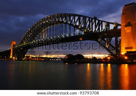 Sydney Harbour Bridge at dusk 2012 - stock photo