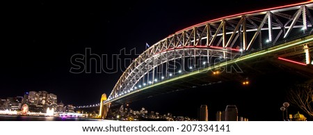 Sydney Harbour bridge at its most colourful - stock photo