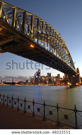 Sydney harbour bridge in blue hour after sunset - stock photo