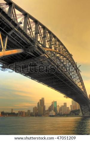 Sydney Harbour Bridge in Sunset - stock photo