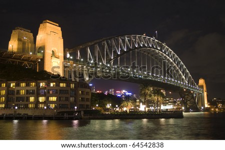 Sydney Harbour Bridge Night Shot - stock photo