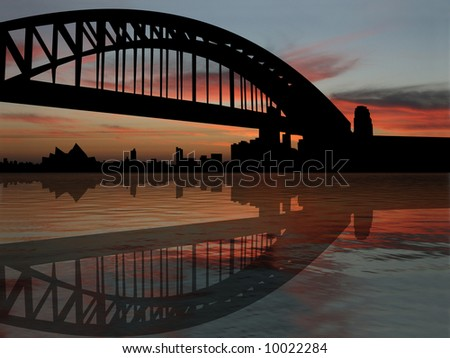 Sydney harbour bridge reflected at sunset illustration - stock photo