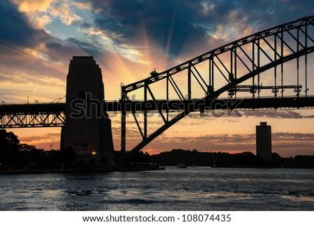Sydney Harbour Bridge Silhouette at Sunset Australia - stock photo