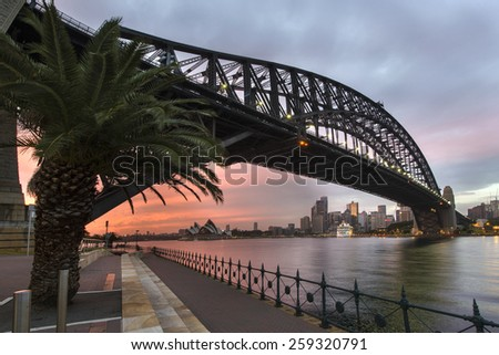 Sydney harbour bridge , sydney, australia - stock photo