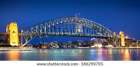 Sydney Harbour Bridge, Sydney, Australia at night  - stock photo