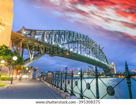 Sydney Harbour Bridge, Sydney, Australia at night. - stock photo