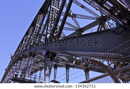 Sydney Harbour Bridge, Through arch bridge in New South Wales, Australia. - stock photo