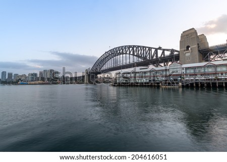 Sydney Harbour Bridge with City sunrise at Walsh Bay, Sydney, Au - stock photo