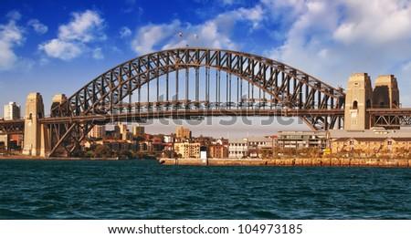 Sydney Harbour Bridge with Dramatic Sky, Australia - stock photo