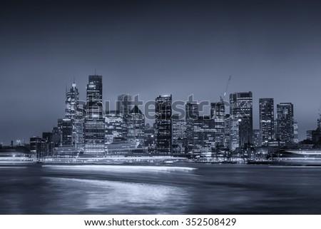 Sydney Harbour night time Panorama viewed from Kirribilli. - stock photo